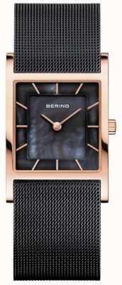 Bering パールダイヤルのレディースブラックメッシュブレスレットブラックマザー 10426-166-S
