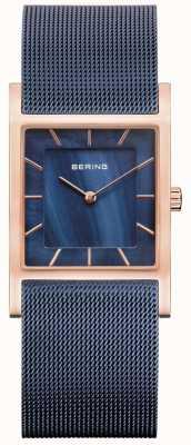 Bering パールダイヤルのブルーメッシュブレスレットブルーマザー 10426-367-S