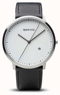 Bering ユニセックスホワイトダイヤルブラックレザーストラップ 11139-404
