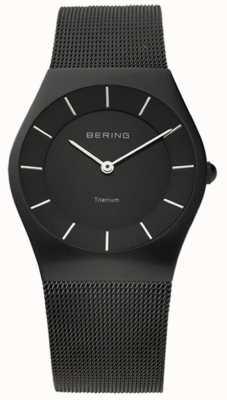 Bering クラシックメンズステンレススチールメッシュブラック 11935-222