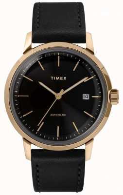 Timex メンズオートマチックブラックレザーストラップブラックダイヤル TW2T22800