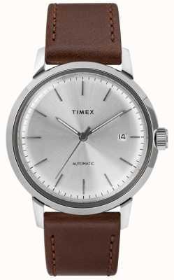 Timex メンズオートマチックブラウンレザーストラップシルバーダイヤル TW2T22700