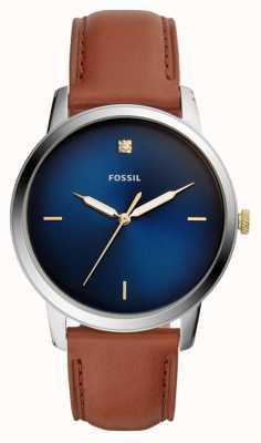 Fossil メンズミニマリストウォッチブラウンレザーストラップブルーダイヤル FS5499