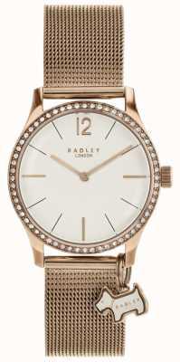 Radley ミルバンクの犬の魅力は、金メッシュのブレスレットの時計をバラ RY4286