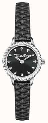 Thomas Sabo 女性用ステンレススチールケースブラックレザーストラップブラックダイヤル WA0328-203-203-19