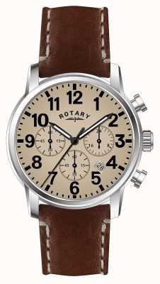 Rotary メンズクロノグラフクォーツレザーストラップホワイトダイヤル GS00430/31