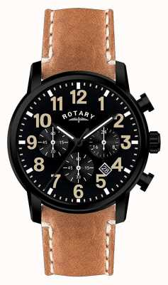 Rotary メンズクロノグラフクォーツレザーストラップブラックダイヤル GS00433/04