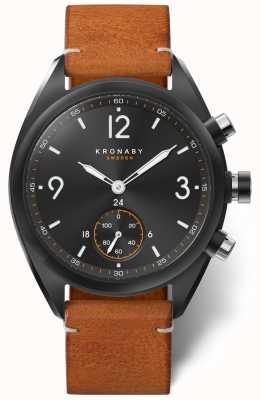 Kronaby メンズアペックス41ブルートゥースブラックダイヤル、ブラウンレザーA1000-3116 S3116/1