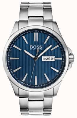 Hugo Boss メンズジーンズステンレススチールブレスレットブルーダイヤル 1513533