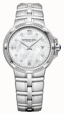 Raymond Weil Parsifalレディースクォーツクラシック| 56ダイヤモンド|真珠の母 5180-STS-00995