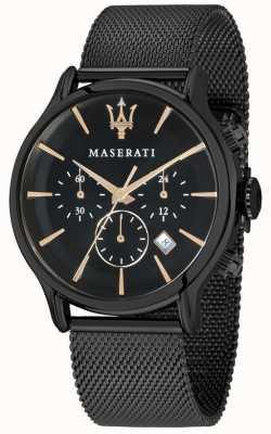 Maserati メンズエポカ42mmブラックダイヤル|ブラックメッシュブレスレット R8873618006