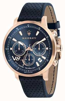 Maserati メンズgt 44mm |ソーラーローズゴールドケース|写真ローズゴールドケースブルーダイヤル|レザー R8871134003
