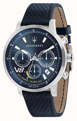 Maserati メンズgt 44mm |太陽|銀製の箱|ブルーダイヤル|ブルーレザー R8871134002
