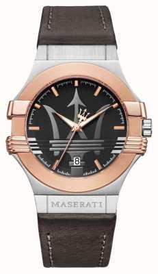 Maserati メンズポテンザ42mm |金メッキステンレス|ブラウンひげ R8851108014