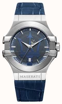 Maserati メンズポテンザ42mm |ステンレス|ブルーダイヤル|青いストラップ R8851108015