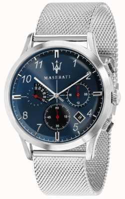 Maserati メンズricordo 42mm |ブルーダイヤル|ステンレス鋼メッシュブレスレット R8873625003