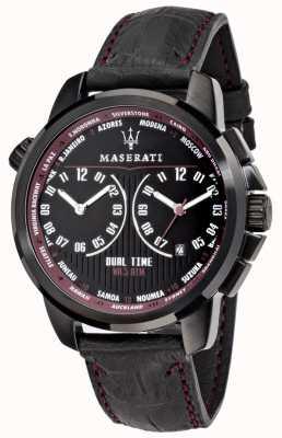 Maserati メンズsuccesso 44mm |ブラックダイヤル|ブラックレザーストラップ R8851121002