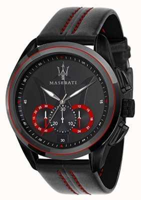 Maserati メンズトラガードクロノグラフ|ブラックダイヤル|黒い革 R8871612023
