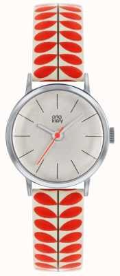 Orla Kiely | |レディースパトリシア腕時計|クリームと赤い茎のプリントストラップ OK2267