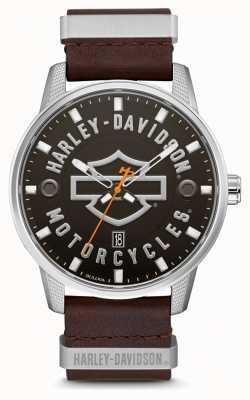 Harley Davidson メンズブラウンレザーストラップhdブランドダイヤル 76B178