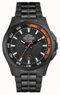 Harley Davidson メンズダッシュボード|ブラックダイヤル|ブラックステンレススチールブレスレット 78B141