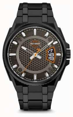 Harley Davidson 彼のためのメンズブラックダイヤル|ブラックステンレススチールブレスレット 78B151
