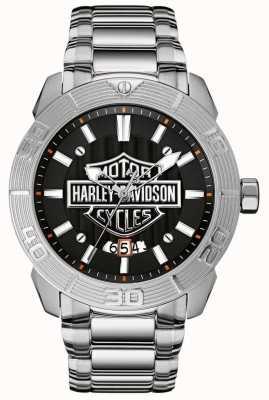 Harley Davidson メンズステンレススチールブレスレット|ブラックダイヤル 76B169