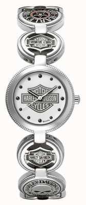 Harley Davidson レディースチャームブレスレットリストウォッチ|シルバーステンレススチール 76L145