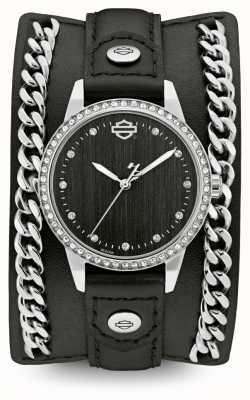Harley Davidson チェーンカフコレクションの女性|ブラックレザーストラップ 76L184