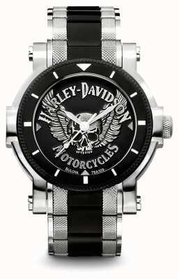 Harley Davidson メンズトーンステンレススチールブレスレット|ブラックダイヤル 78A109