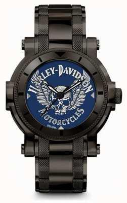 Harley Davidson 彼のためのメンズ|ブラックステンレススチールブレスレット|ブルーダイヤル 78A117