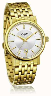 Rotary メンズスリムゴールドメッキステンレススチールブレスレット| Jewelry-stores.co.ukシルバーダイヤル GB03635/03