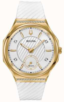 Bulova 女性のカーブダイヤモンドセットゴールドメッキホワイトストラップ 98R237
