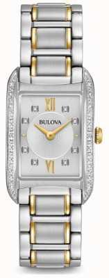 Bulova 女性用シルバーダイヤモンドセットクォーツ 98R227