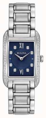 Bulova 女性用ダイヤモンドセットブラックダイヤルステンレススチールブレスレット 96R211