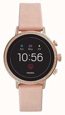 Fossil 接続されたqベンチャー時間スマートな腕時計のブラッシュレザーストーンセット FTW6015