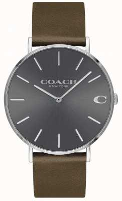 Coach メンズカール|ブラウンレザーストラップ|グレーのダイヤル 14602153