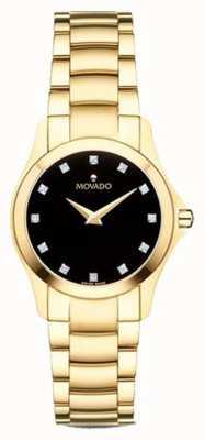 Movado |レディースモイサンウォッチゴールドトーンブラックダイヤル| 0607028