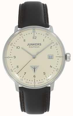 Junkers バウハウスクリームダイヤルブラウンレザーストラップウォッチ 6046-5