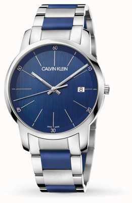 Calvin Klein |メンズシティエクステンションツートーンステンレス鋼|ブルーダイヤル K2G2G1VN