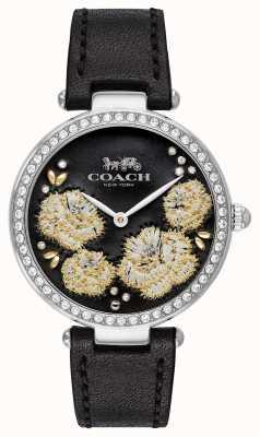 Coach |レディースパークウォッチ|ブラックレザーストラップブラックダイヤル 14503283