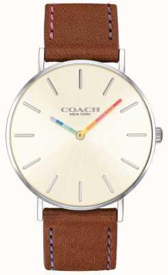 Coach |レディースペリー腕時計|ブラウンレザーストラップホワイトダイヤル| 14503032