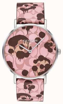 Coach |レディースペリー腕時計|ピンクのレザーストラップの花柄のデザイン|ベクターイラスト| CLIPARTO 14503246