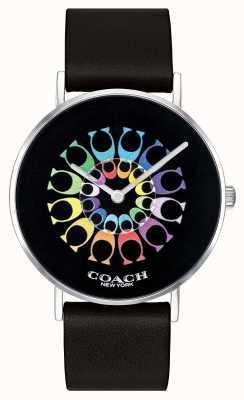 Coach |レディースペリー腕時計|ブラックレザーストラップブラックダイヤル| 14503289