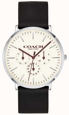 Coach |メンズバリックウォッチブラックレザーストラップホワイトダイヤル| 14602387