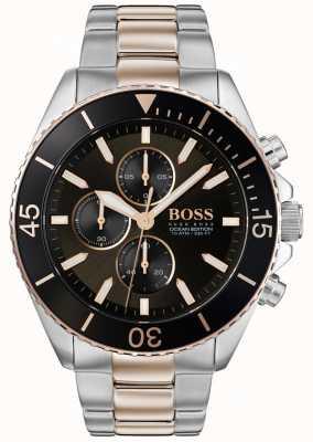 Boss |メンズオーシャン版|ツートーンステンレス鋼|ブラックダイヤル 1513705