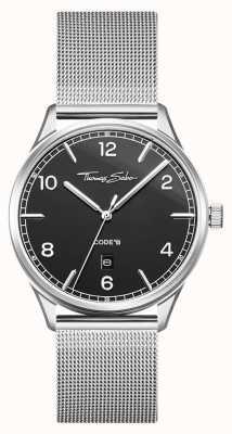 Thomas Sabo |ステンレススチールシルバーメッシュブレスレット| Jewelry-stores.co.ukブラックダイヤル| WA0339-201-203-40