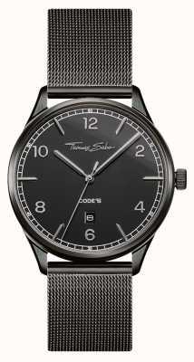 Thomas Sabo |ステンレススチールブラックメッシュブレスレット|ブラックダイヤル| WA0342-202-203-40