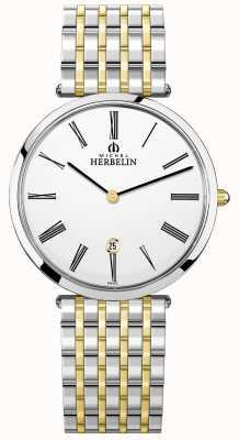 Michel Herbelin |メンズイプシロン|ベクターイラスト| CLIPARTOエクストラフラットツートーンブレスレット| Jewelry-stores.co.uk 19416/BT11