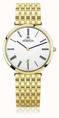 Michel Herbelin |メンズイプシロン|ベクターイラスト| CLIPARTOエキストラフラットゴールドpvdブレスレット| Jewelry-stores.co.uk 19416/BP01N